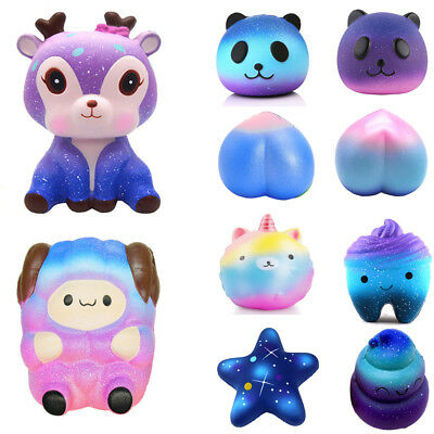 Galaxy Rainbow Jumbo Squishy Scented Slow Rising Squeeze Toy Stress Reliever Lot