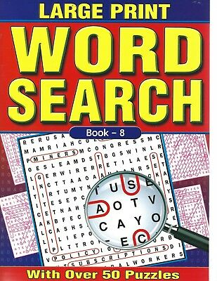 A4 Word Search Book Large Print 50 Puzzles On Quality White Pages  Book 8 (New)