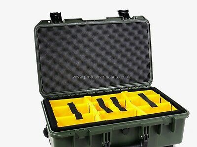 Peli Storm iM2500 Olive Case With Yellow Dividers and Utility Lid Organiser