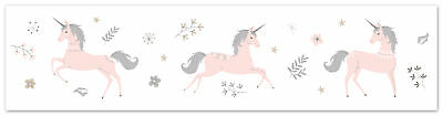 Sweet Jojo Blush Pink Grey Gold Unicorn Wall Paper Border Room Wallcovering