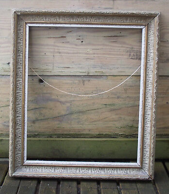 Large Antique Gilt Gold & White Gesso Swept Picture Painting Mirror Frame