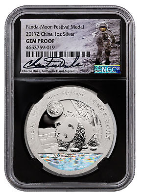 2017-Z China Moon Fest Silver Panda 1 oz Medal NGC GEM Proof Black Duke SKU52695