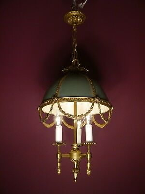 Small 3 Light Brass French Empire Chandelier Vintage Ceiling Lamp Fixtures Old