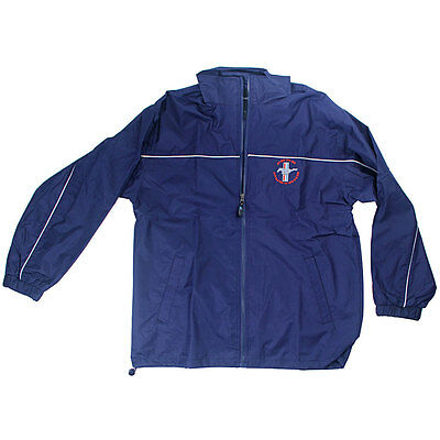 Apparel Windbreaker Zip-Up Blue Ford Mustang With Tri-Bar Running Horse Logo X-L