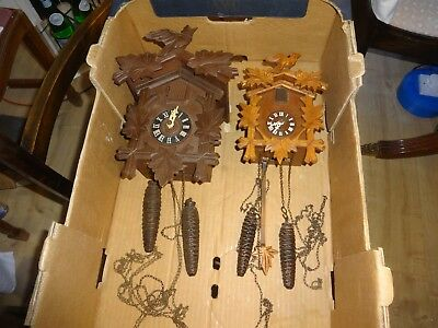 2 X Vintage German Black Forest Cuckoo Clocks for spares or repair