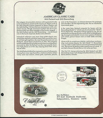 2384-85 * Classic Cars * Packard & Duesenberg* Hand-Tinted Fdc On Souvenir Page>