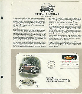 2381 * Classic Cars * Locomobile * Hand-Tinted Fdc On Souvenir Page >