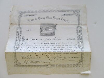 "1884 ""emery & Cheney Chain Stopper Company"" Stock Certificate, #133, 10 Sh. 1000"