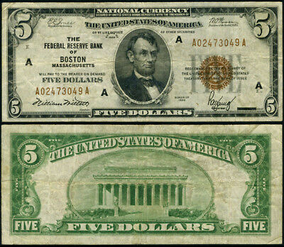 FR. 1850 A $5 1929 Federal Reserve Bank Note Boston A-A Block Fine+