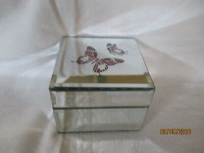 "Lenox---""Pink Butterfly Mirror Jewelry Box""--Mother's Day Gift--New in Box"