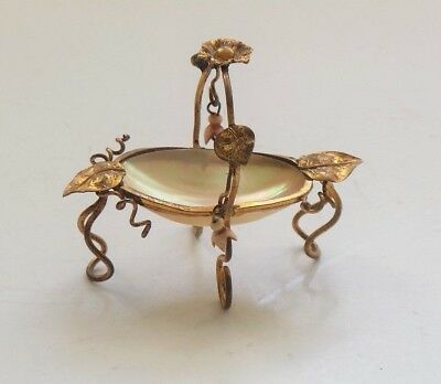19th C. Miniature Mother of Pearl Ormolu Thimble Holder