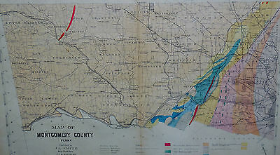 Montgomery County (All) Pa Genuine Antique Map Hand Colored J.l.smith 1877