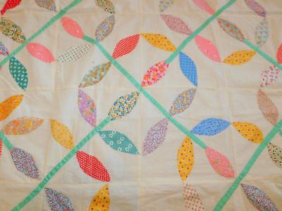 """Antique Vintage Hand Stitched APPLIQUED QUILT TOP Feedsack Fabrics 60x80"""" LEAVES"""