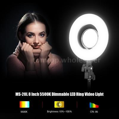8 Inch 24W Dimmable LED Ring Live Video Selfie Fill Light +Mikeup Mirror J6S8