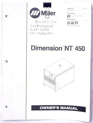 Miller Dimension NT 450 Owners Manual OM-2252 Welding