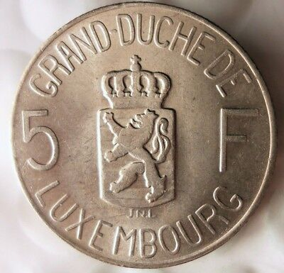 1962 LUXEMBOURG 5 FRANCS - Excellent Uncommon Coin - FREE SHIPPING - BIN #HHH