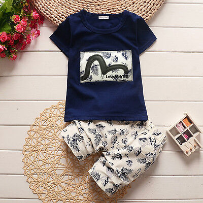 2Pcs Toddler Baby Boys Casual T-Shirt Tops + Shorts Set  Kids Clothes Outfits