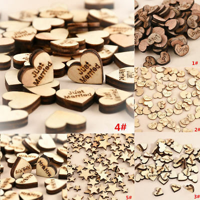 100pcs Rustic Wooden Love Heart Star Wedding Table Scatter