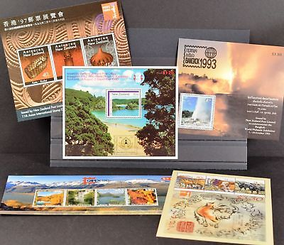 Neuseeland New Zealand, 5 Blocks zu Briefmarkenausstellungen, siehe Bilder