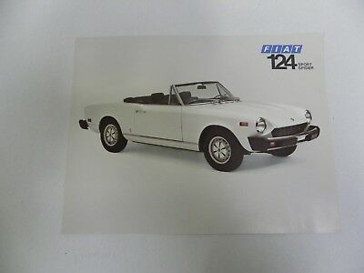 Vintage Original Fiat 124 Spider Sales Brochure Flyer (A2)