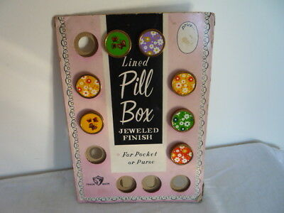 Vintage Mid Century Card Shop Display Advertising SNW Lined Pill Boxes Prop