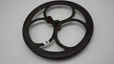 "Antique 12"" OLD  Industrial Fancy Pulley Cast Iron Steam Punk Decor # B"