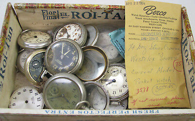 Large Lot Of Vintage Dollar Pocket Watch Parts