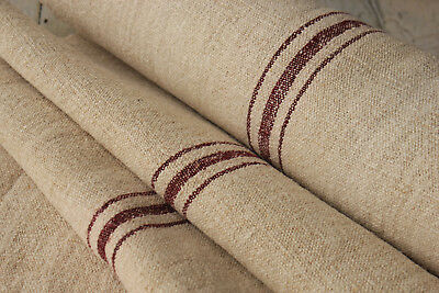 Striped Antique homespun upholstery fabric HEMP 7.8 yards BURGUNDY