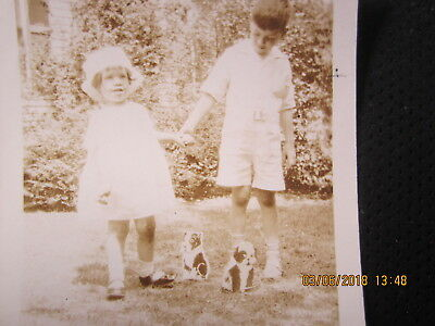 VINTAGE photo LITTLE GIRL & BOY with BOSTON TERRIER dog TOYS  2 1/2 X 3 1/2""