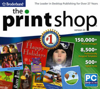 Print Shop 23.1  2 DVDs Photo Editing Labels Cards Desktop Publishing  NEW