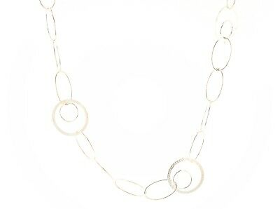 Sterling Silver 925 White Freshwater Button Pearl Mesh Round Chain Necklace