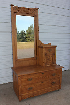 Antique Carved East Lake Oak Gentlemans Top Hat Dresser Bachelor Chest w Mirror