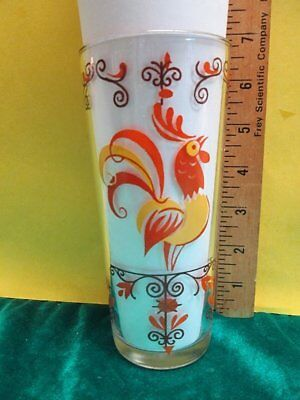 Vintage 16 oz. Mid Century Rooster Drinking Glass Tumbler by Salem