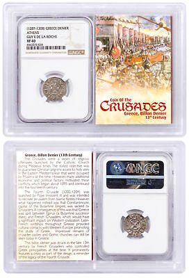 1250-1310 Greece, Billon Denier Coin of Crusades NGC XF40 Story Vault SKU51724