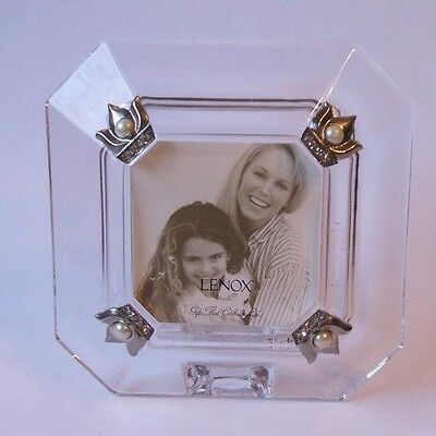 Lenox Crystal Diamonds and Pearls Mini Square Picture Frame Holds 2 x 2 Photo
