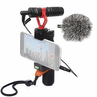 Movo Smartphone Video Rig w/ Microphone, Grip, & Strap for iPhone 8, X, & More