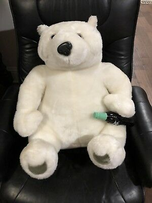 Large Coca Cola Polar Bear Plush With Bottle EXC
