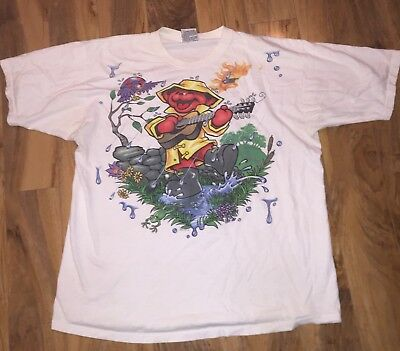 Vtg 2000 Grateful Dead Bear Shirt Liquid Blue XL Free S&H GDP
