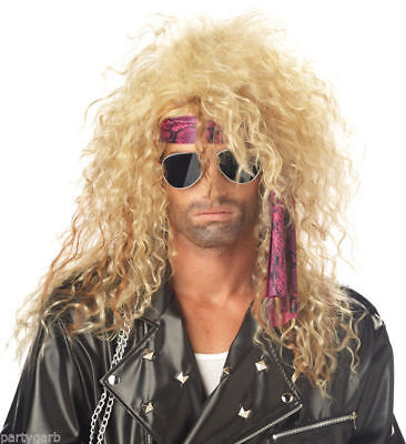 Blonde Heavy Metal Rocker Wig RockStar Hair and Headbanger MetalHead 80s 90 Bret