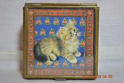 Lesley Anne Ivory Cat Kitten Blue Glass and Brass Footed Hinged Trinket Box