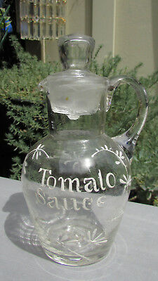 Stunning Early Enamelled Glass Tomato Sauce Jug Bottle