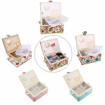 Household Sewing Tools Storage Basket Box Vintage Needles Threads Case Rectangle