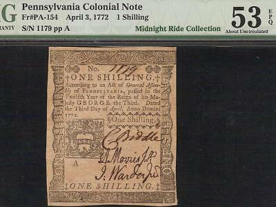 April 3, 1772 Pennsylvania Colonial Currency Note Paper Money Pa-154 Pmg 53 Epq