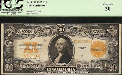 Large 1922 $20 Dollar Bill Big Gold Certificate Coin Note Paper Money Pcgs 30
