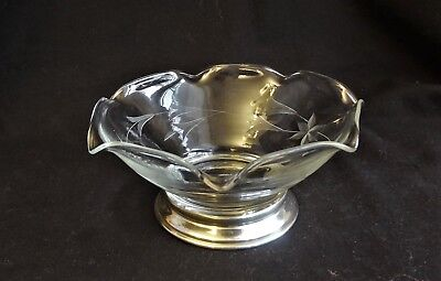 Sterling Silver Base Small Etched Glass  Ruffled Top, Bowl