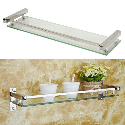 Bathroom Shower Glass Shelf Storage Rack Holder Wall Mounted Caddy Organizer