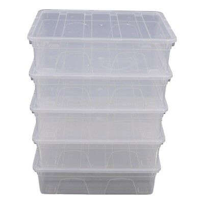Pack 5 x Spacemaster 12 Litre Clear Plastic Underbed Storage Boxes Box With Lids