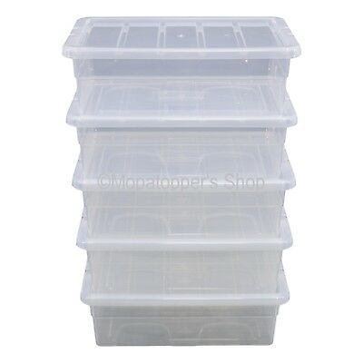 Pack 5 x Spacemaster 28 Litre Clear Plastic Underbed Storage Boxes Box With Lids