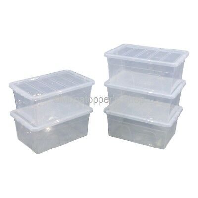 NEW Pack Of 5 Spacemaster 38 Litre Clear Plastic Storage Boxes Box With Lids