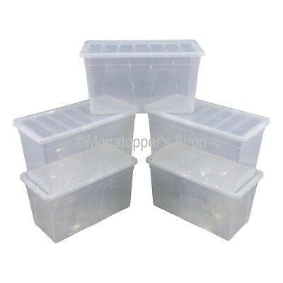 NEW Pack Of 5 Spacemaster 96 Litre Clear Plastic Storage Boxes Box With Lids